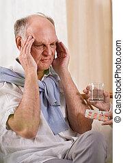Elder man with headache