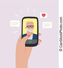 Elder man with white hair on dating app