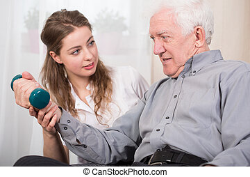Elder man's home therapy - Elder man returning to good state...