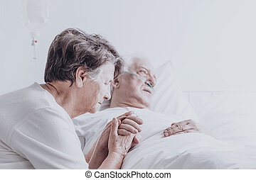 Elder married couple in hospital