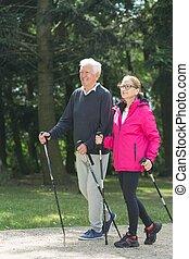 Elder pair strolling - Picture of elder pair strolling with ...