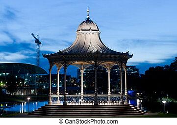 The Elder Park rotunda at night/dusk