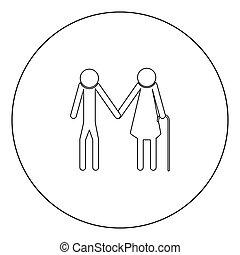 Elder people stick black icon in circle vector illustration...
