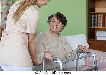 Elder with a walker