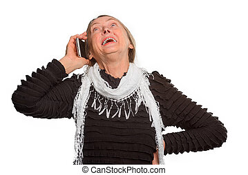 Elder woman isolated on the white background