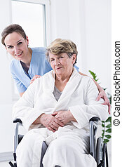 Elder woman on a wheelchair