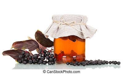 elderberry, napój, biodra, odizolowany, tło., róża, biały