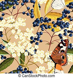 Elderberry vector seamless pattern