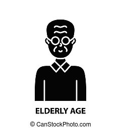 elderly age icon, black vector sign with editable strokes, concept illustration