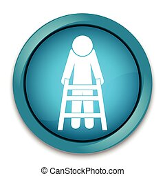 Elderly and walker sign, icon vector illustration