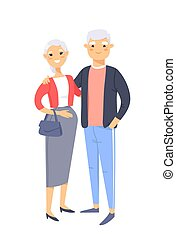 Elderly asian couple. Hand drawn woman and man. Flat style vector illustration family. Cartoon characters isolated on white background