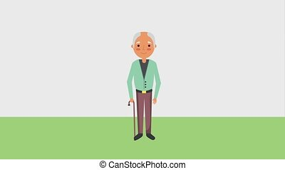 elderly bald man with walking stick animation hd