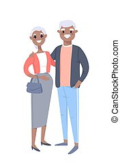 Elderly black couple. Hand drawn woman and man. Flat style vector illustration family. Cartoon characters