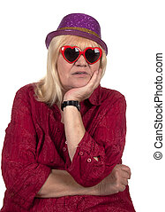Elderly blond woman with a