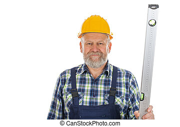 Elderly builder with spirit level tool