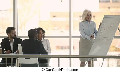 Elderly business coach makes flipchart presentation for...