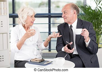 Elderly business partners discussing