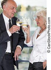 Elderly business partners
