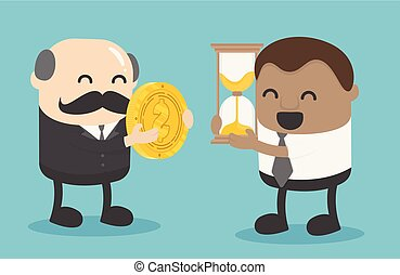 elderly businessman exchanging money with an African businessman's hourglass. exchange precious moments for him for family use.