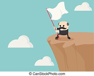 elderly businessman holds a flag waving on a steep cliff face as he represents a fight to the last.