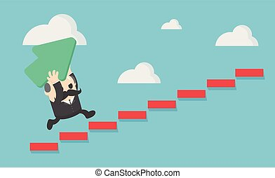 elderly businessman holds a green arrow up the ladder to the success he wants.
