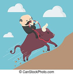 Elderly businessman ride a bull, success Trader