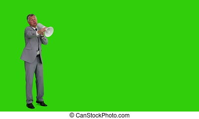 Elderly businessman shouting through a megaphone - Chromakey...