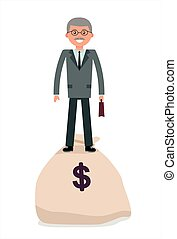 Elderly businessman standing on the bag with money. Cartoon...