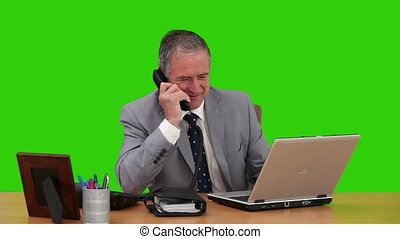 Elderly businessman working at his desk