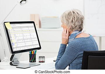 Elderly businesswoman working at her desk