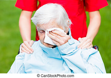 Elderly care - Photo of sad elderly woman who is crying