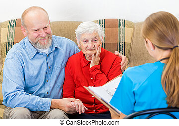 Elderly care - Photo of elderly woman tells a story for the...