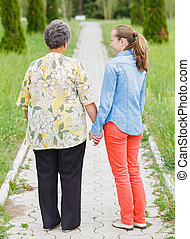 Elderly care - Walking and telling stories on the nature