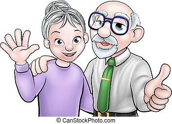 Cartoon senior elderly grandparents couple
