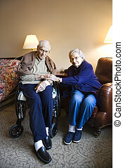 Elderly Caucasian couple.