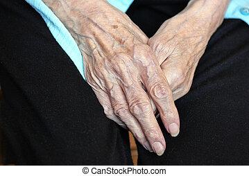 Elderly caucasian women hands