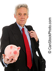 Elderly CEO with piggy bank