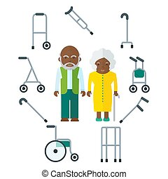 elderly couple and cane
