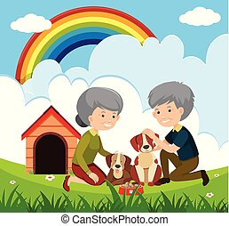 Elderly Couple and Dogs illustration