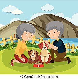 Elderly Couple and Pets illustration