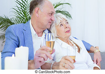 Elderly couple and romantic dinner