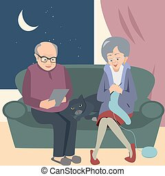 elderly couple at night in home vector illustration