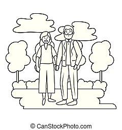 elderly couple avatar black and white