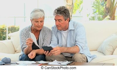 Elderly couple calculating their bills in the living room