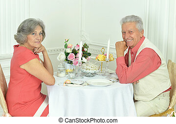 Elderly couple dating together - Happy Elderly couple dating...