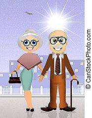 elderly couple - illustration of grandparents Day