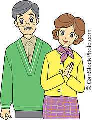 elderly couple, senior, vector