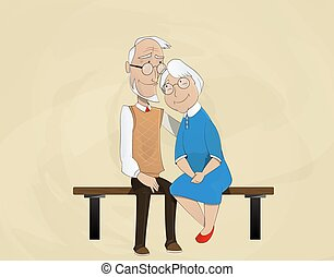elderly couple embracing sitting on bench. Retired elderly...