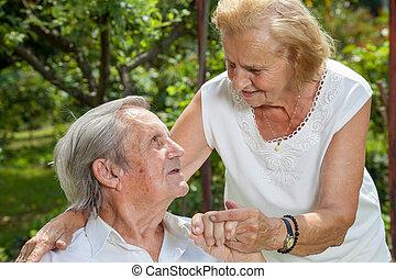 Elderly couple enjoying life together