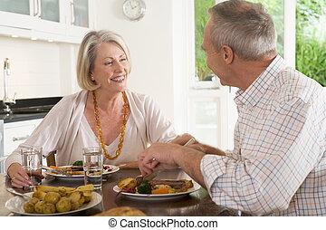 Elderly Couple Enjoying meal,mealtime Together